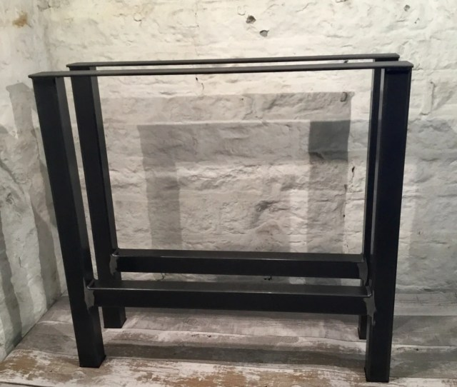 2 X H Frame Handmade In The Uk Raw Steel Large Table Pedestal Legs Industrial