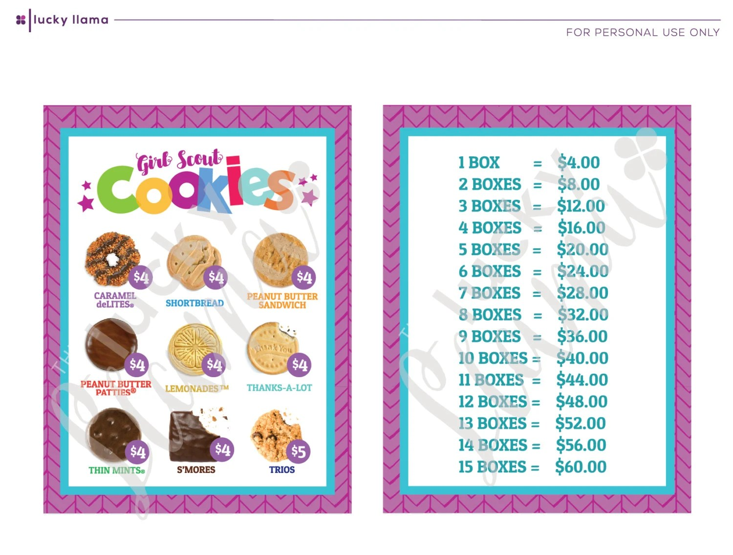 Girl Scout Cookie Lanyard Printable
