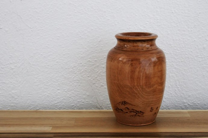 Large Turned Wood Vase Ja...