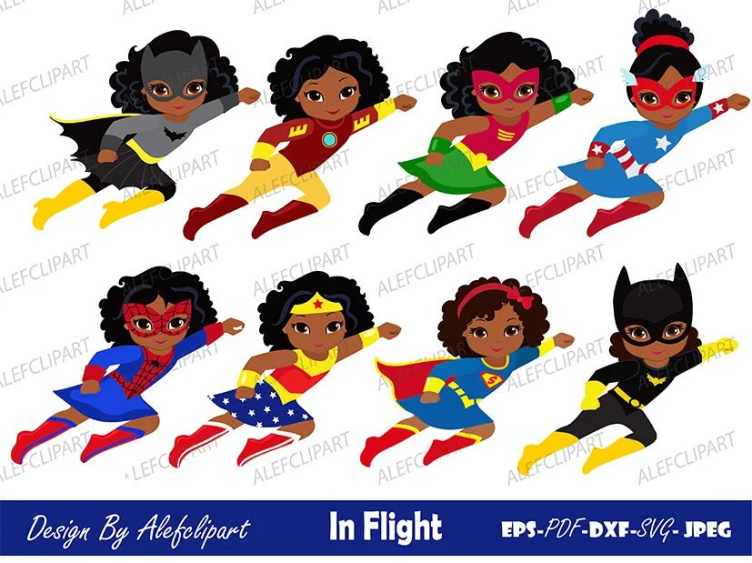 Download Girls African American in flight. SVG Silhouette Cut Files