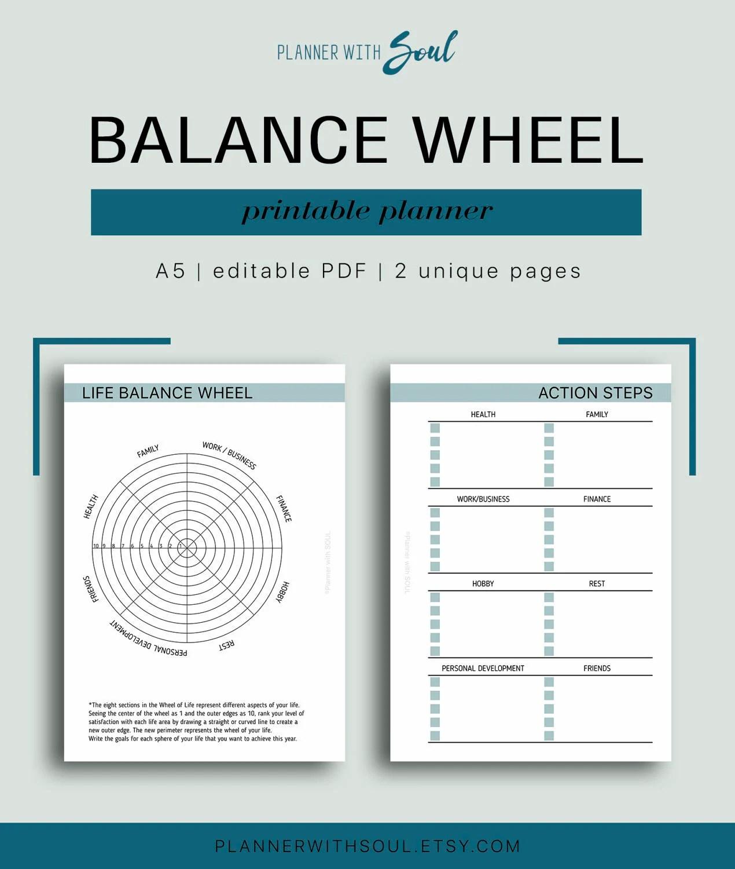 A5 Life Balance Wheel Editable Life Balanced Life Planner