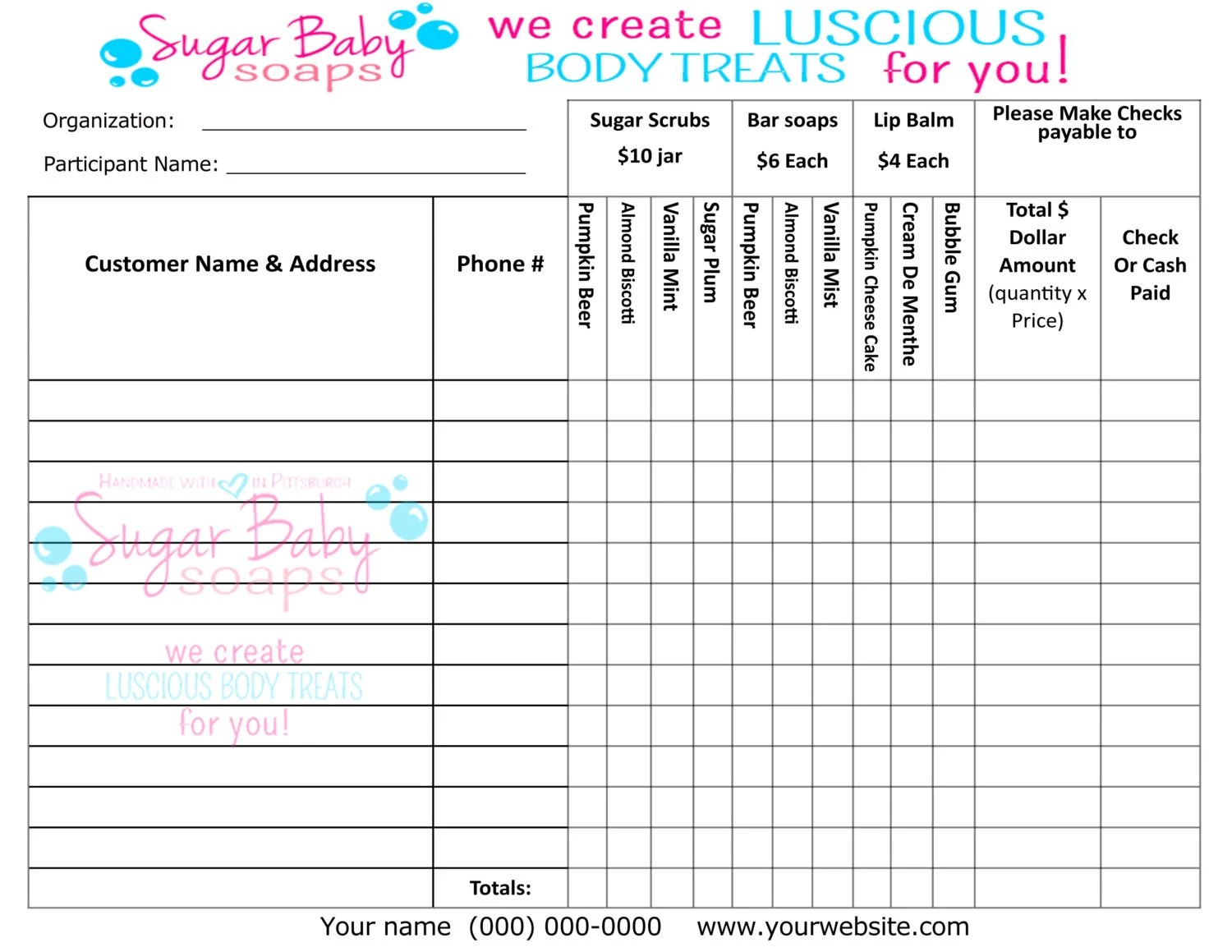 Template Order Fundraiser Form Scentsy