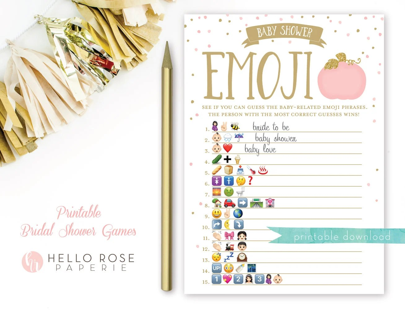 Pumpkin Baby Shower Emoji Pictionary Game Pink And Gold Baby