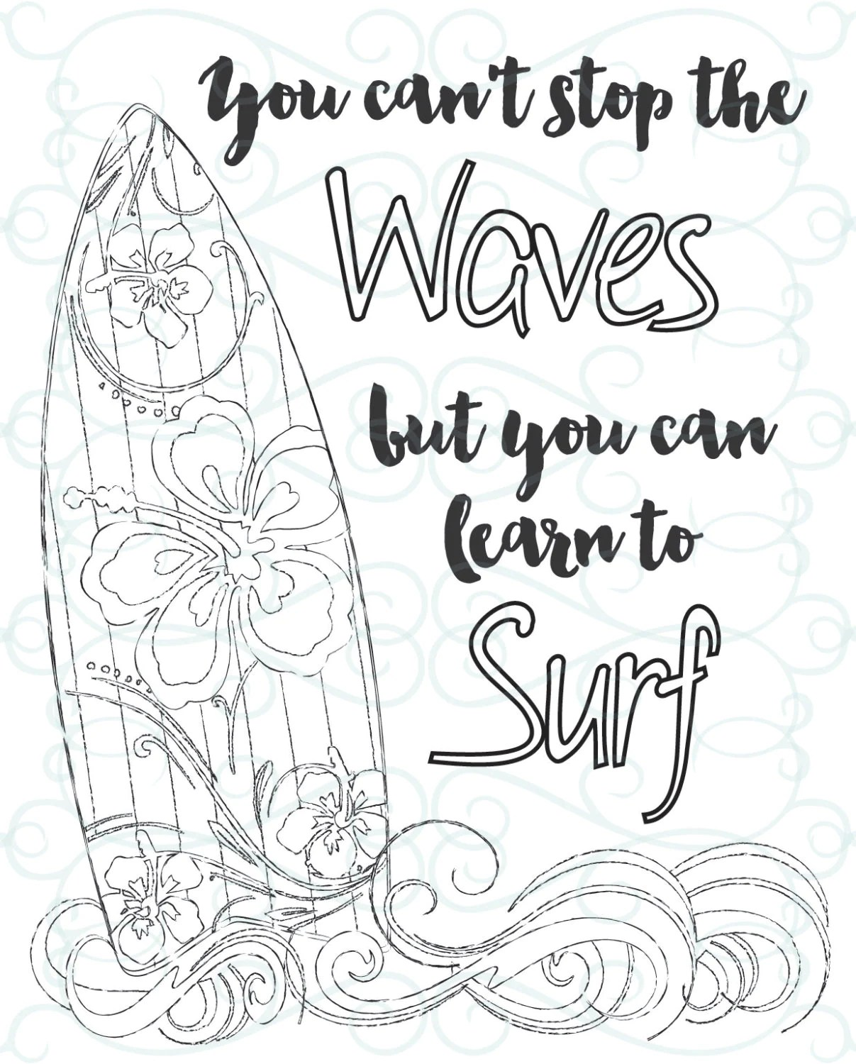 Adult Inspirational Coloring Page printable 03-Learn to Surf | printable coloring pages for adults quotes