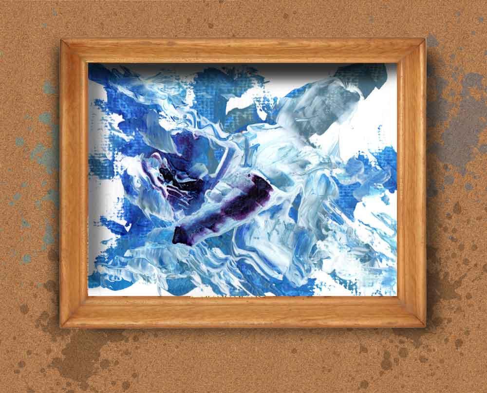 Navy acrylic art, Blue Mi...