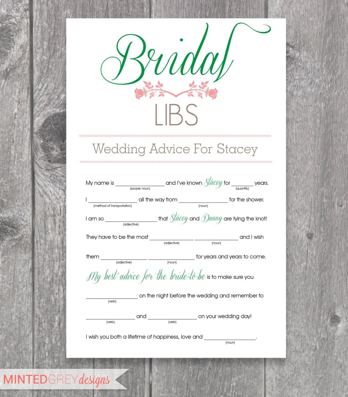 Printable Bridal Libs Mad Libs Bridal Shower Game