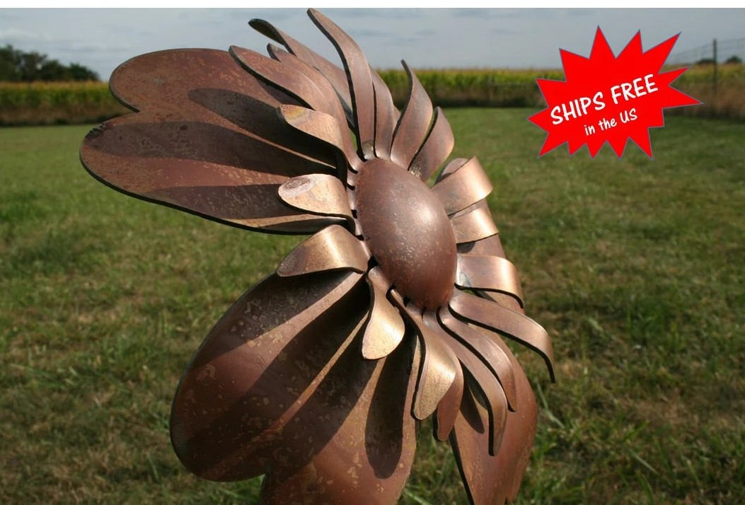 Large Metal Sunflower, Metal Flower Stake, Garden Flowers