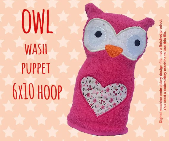 Wash Puppet - OWL - ITH - 6x10 hoop - In The Hoop - Machine Embroidery Design File, digital download