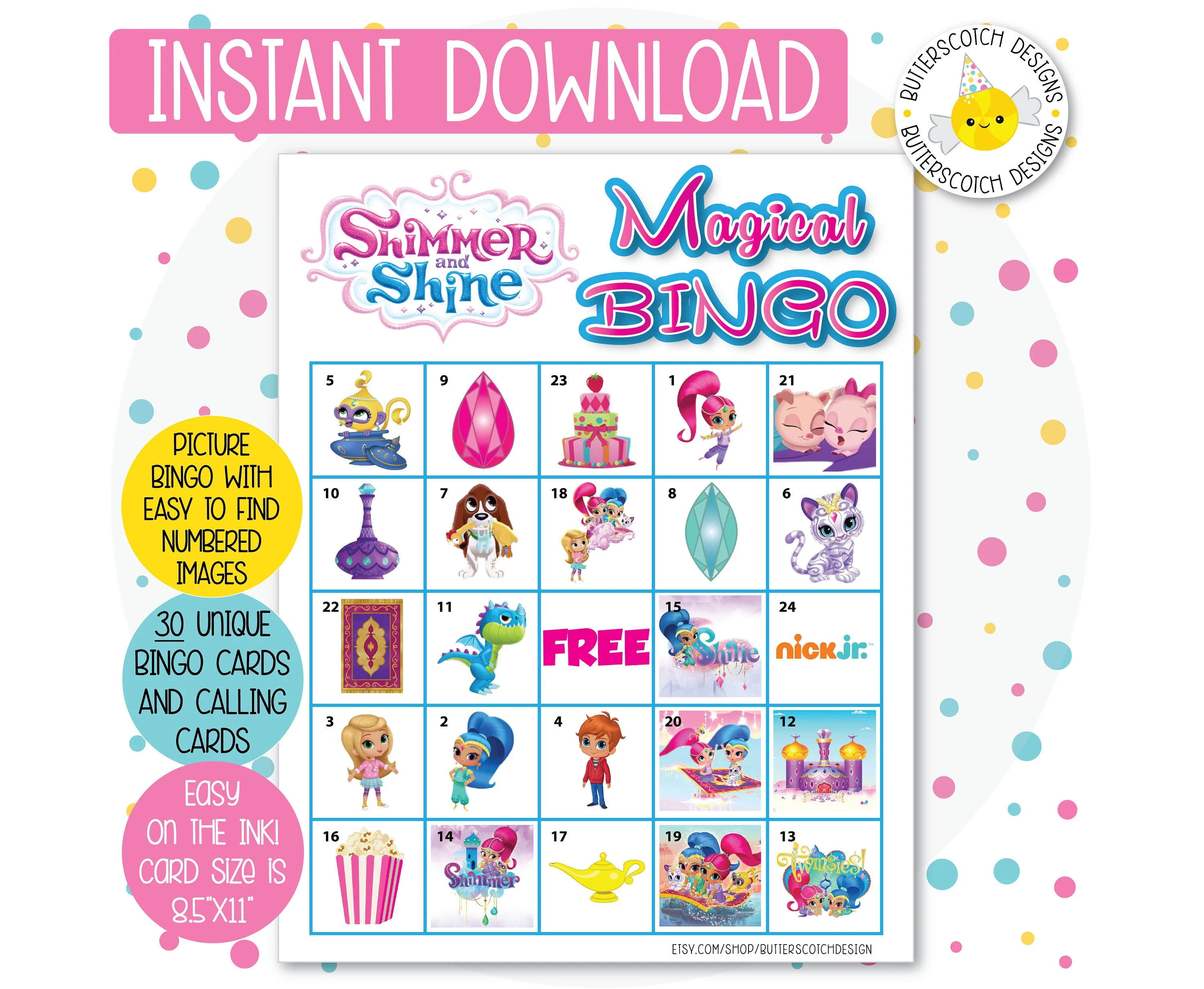 Nick Jr Shimmer And Shine Printable Bingo Cards 30 Different