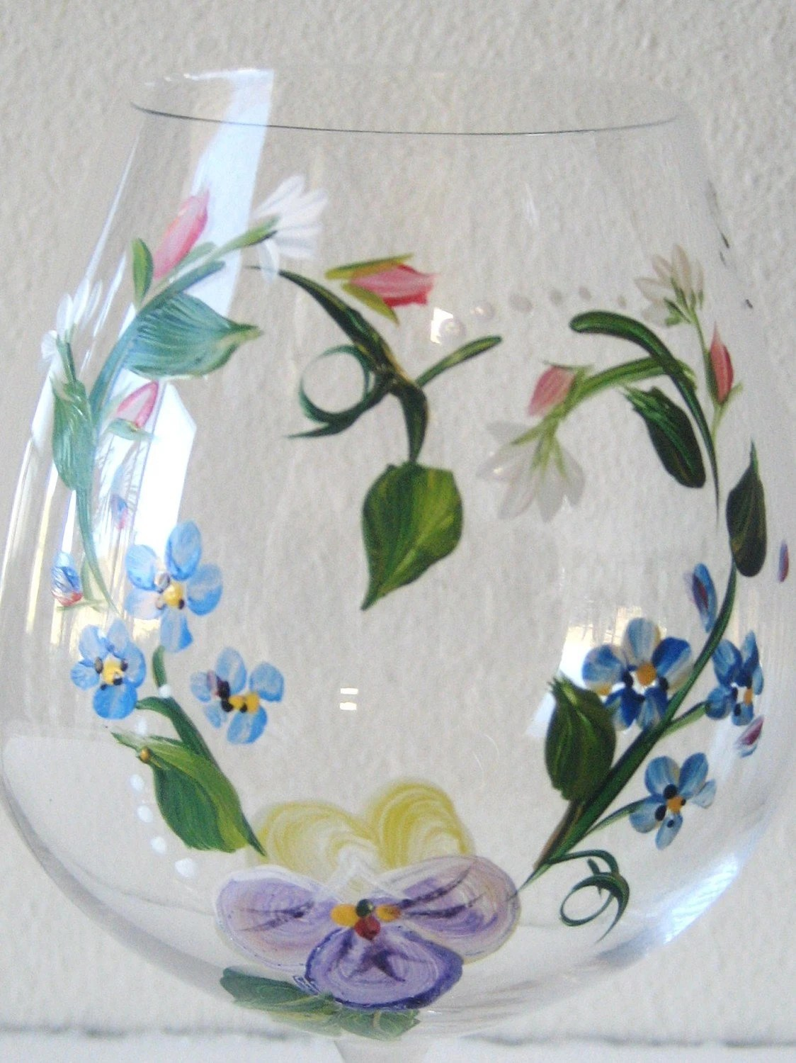 Handpainted Glass Pitcher With Wisteria Mothers Day
