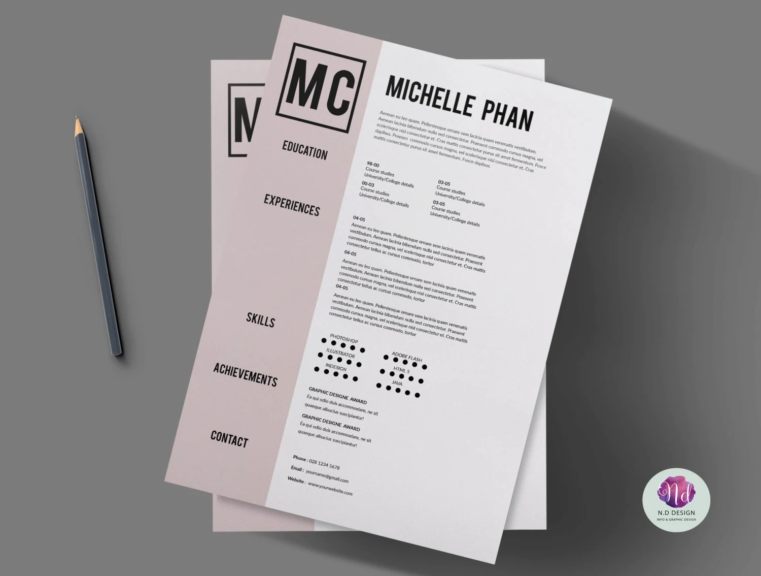 Modern CV template cover letter template references 1 page CV template    cover letter template   references template     1  page resume   professional CV   job application  minimal CV design