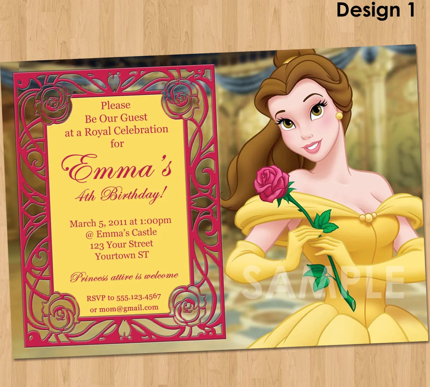 Princess Belle Invitation Beauty And The Beast Party