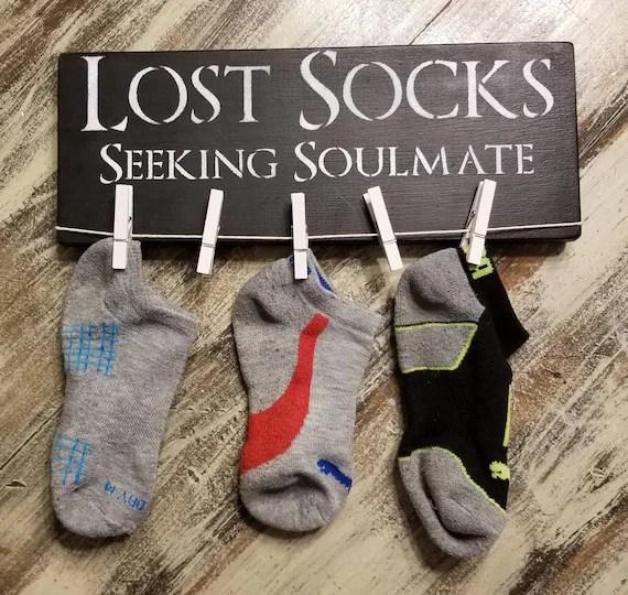 Customised Lost Socks, Pine Wall Sign