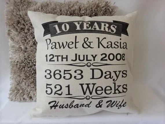 Personalised 10th Anniversary Cushion