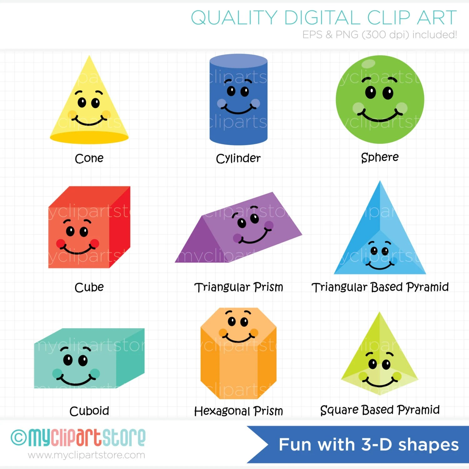 Clipart Fun With 3d Shapes Educational Teachers
