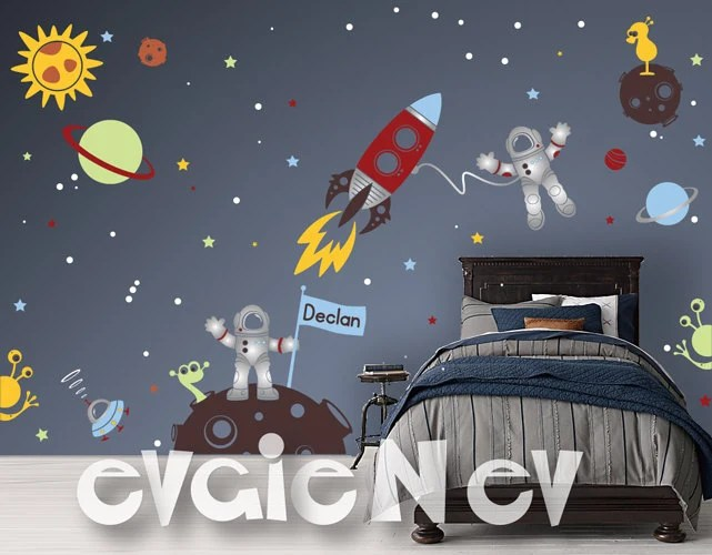 Custom Flag Name Outer Space Wall Decals With Astronauts And