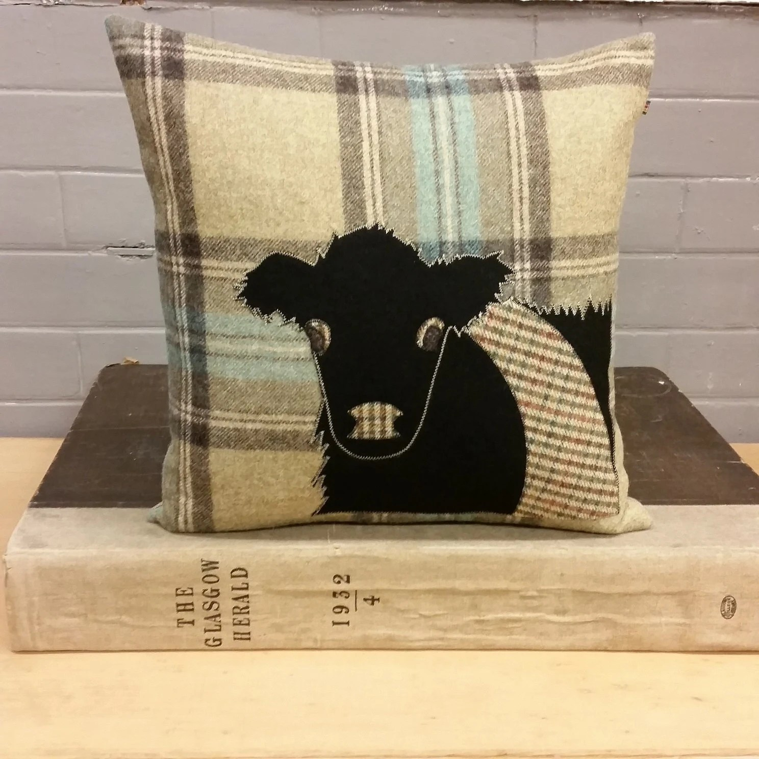 Handmade Belted Galloway Cow Cushion