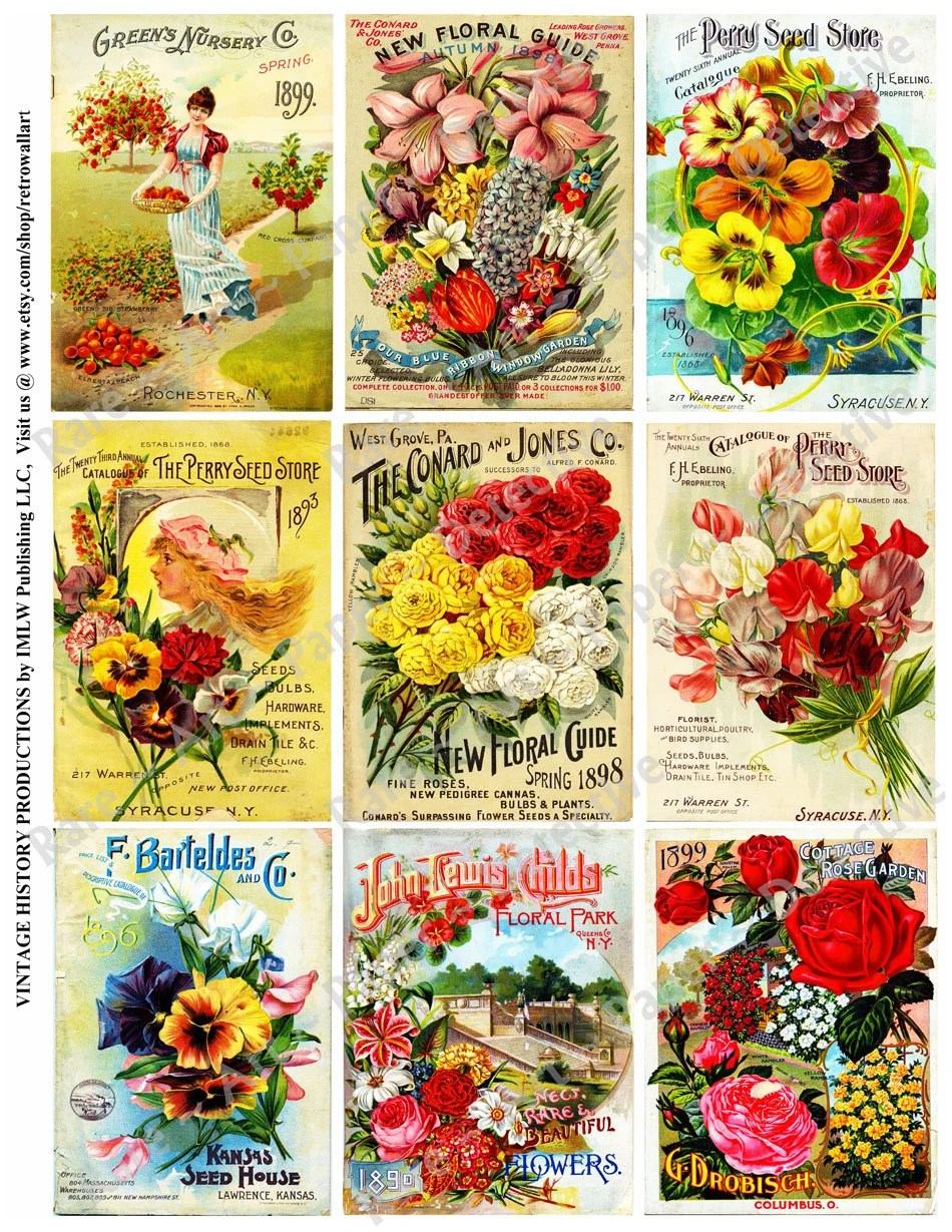 Seed Catalog Antique Covers Printed Stickers Flower Garden