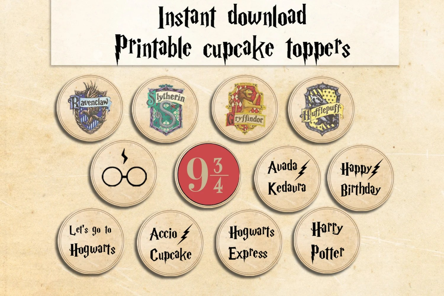 Harry Potter Cupcake Toppers Party Printables Harry Potter