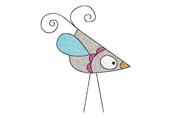PH020 - 5x7 hoop BIRD Machine Embroidery Design File, digital download