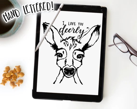 Download I Love You Deerly SVG Cut File Deer Cutting File Baby Fawn