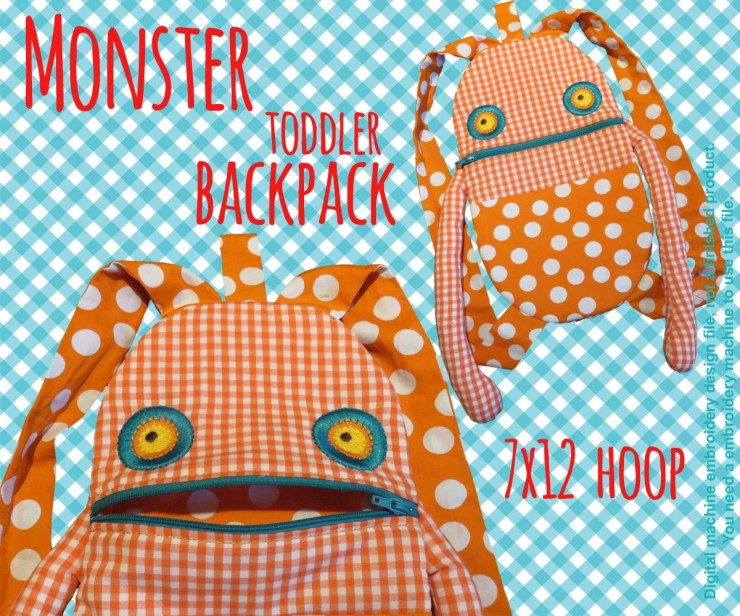 7x12 hoop - Monster Toddler backpack - ITH - In The Hoop - Machine Embroidery Design File, digital download