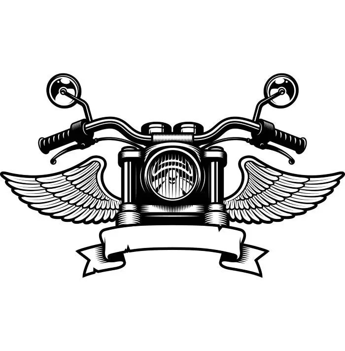Bike Black Wings Harley White Davidson Logo And And