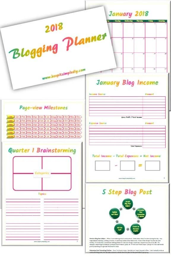 2018 Blogging Planner...
