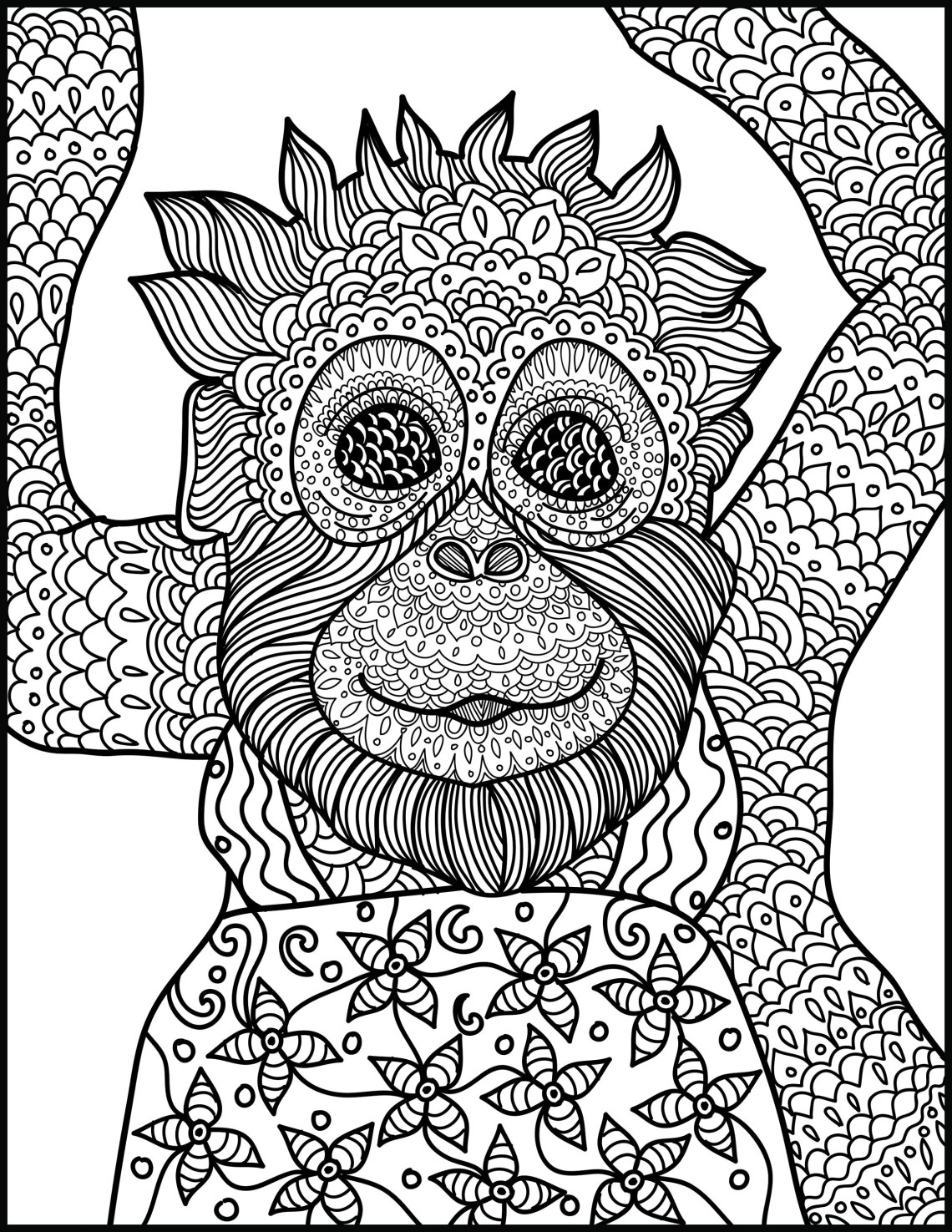 Animal Coloring Page: Monkey Printable Adult Coloring Page | printable colouring pages for adults animals
