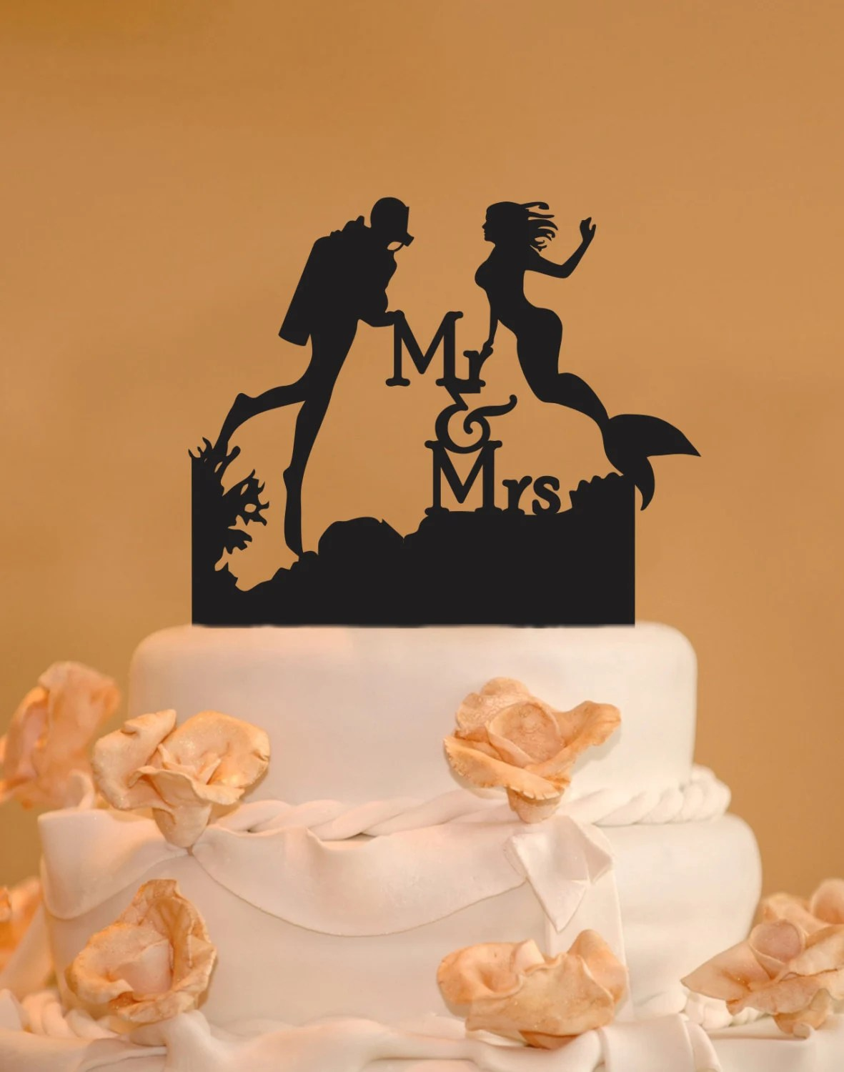 Scuba Diver And Mermaid Wedding Cake Topper Mr And Mrs