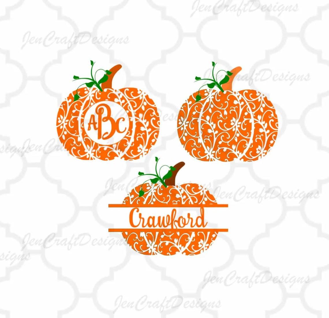Download Fall Pumpkin SVG, DXF, EPS Pdf circle monogram Frame ...