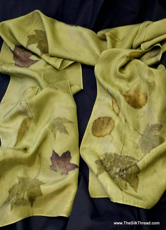 """Silk Scarf Eco-printed with Leaves by Artist, Beautiful Olive Green from Goldrenrod Flowers, All Natural, 8"""" x 72"""" 220A, FREE Ship USA, OOAK"""
