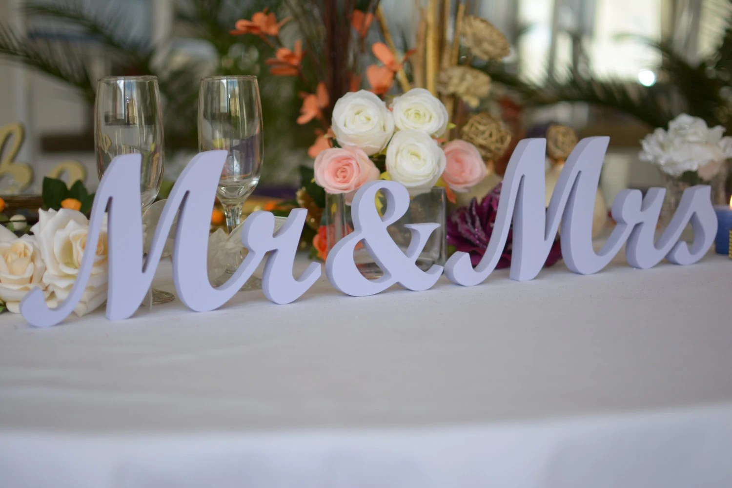Wedding Sign LAVENDER Mr & Mrs Top Table Decoration Signs