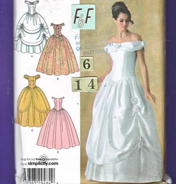 Off Shoulder Southern Belle Wedding Dress Sewing Pattern Simplicity