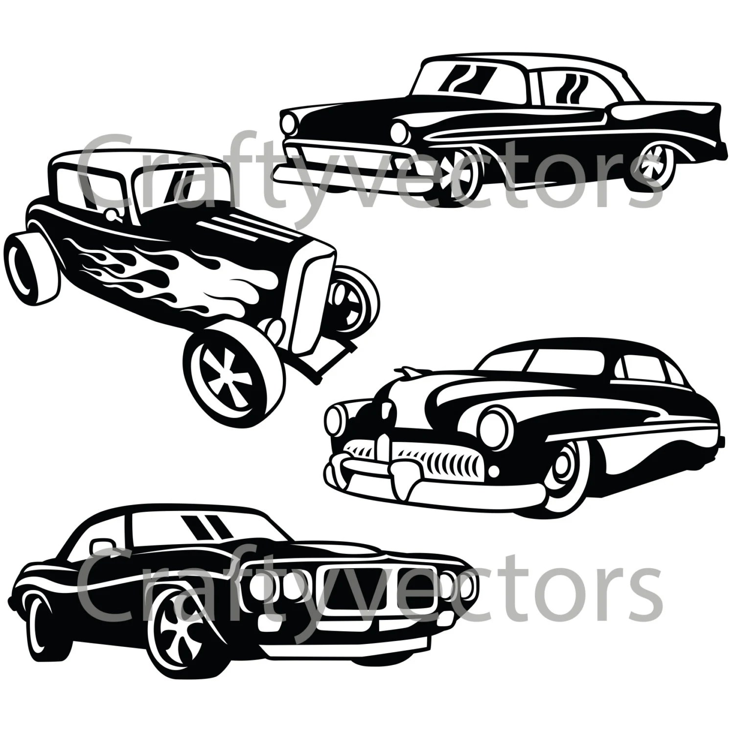 Hot Rod Cars 2 Svg Vector Files