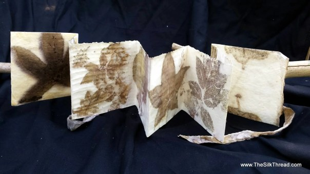 Accordion Handmade Book, EcoPrinted Designs by Nature, Natural Prints and Colors of Leaves, Totally Organic Eco-Printed Paper, By Artist