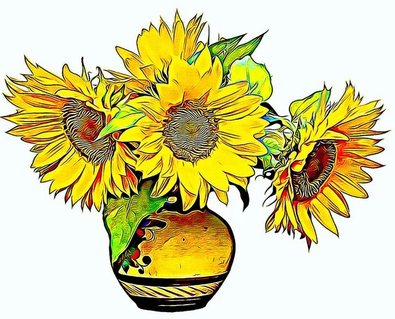 Sunflowers Illustration, Birthday, Greetings Card