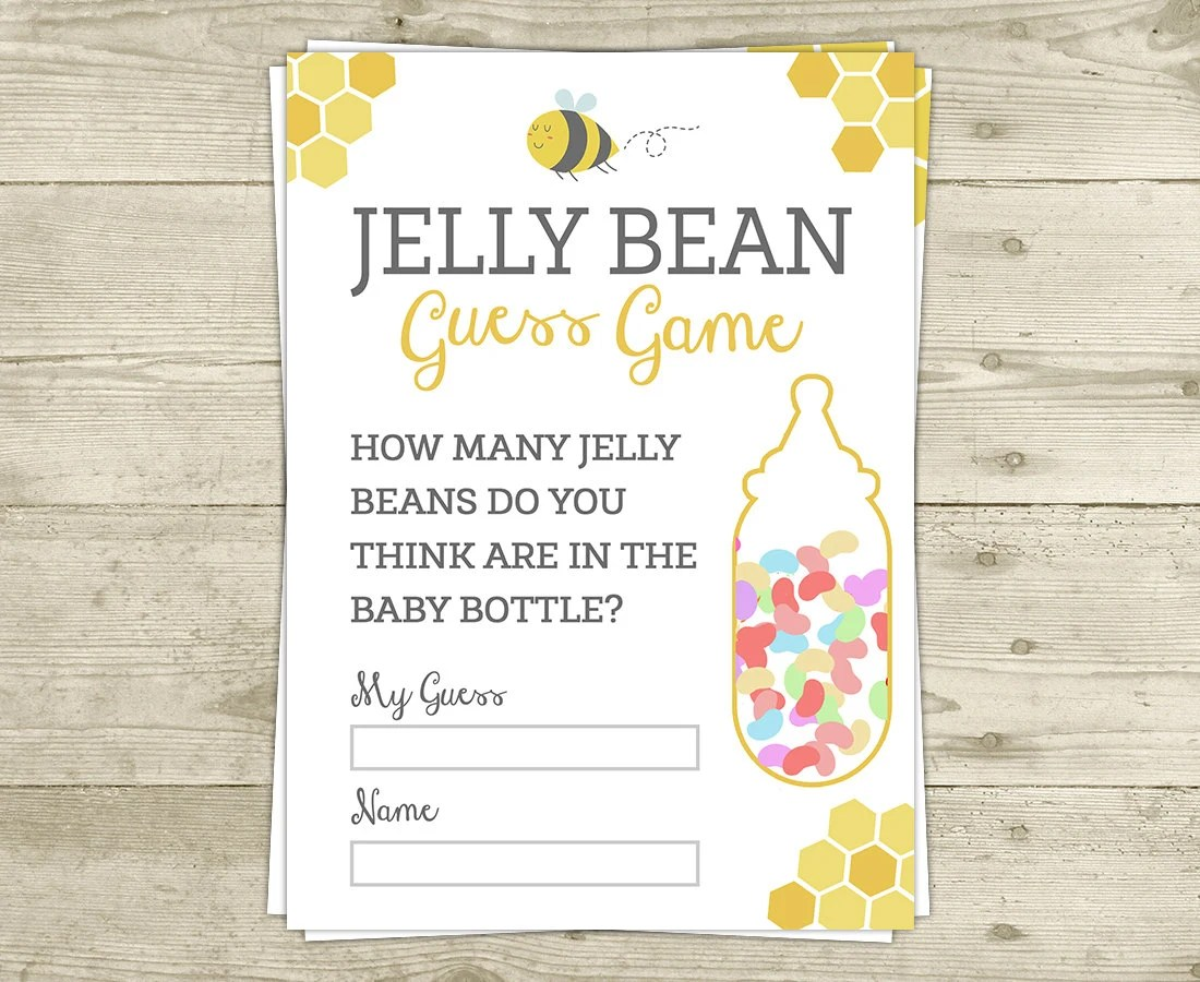 Jelly Bean Guess Game Baby Shower Game Bee Baby Shower