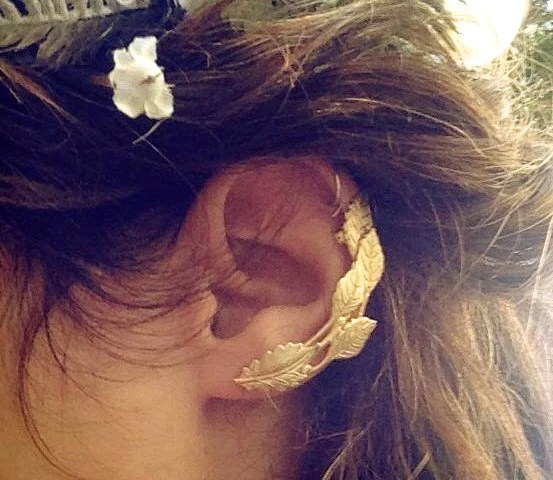 Ivy Ear Cuff Gold Leaves Earring Gold Plated Ear Climber