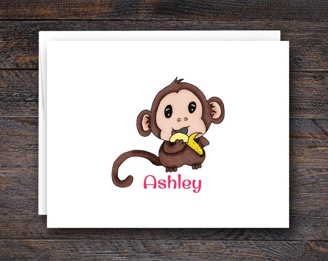 Monkey Note Card Set - Fo...