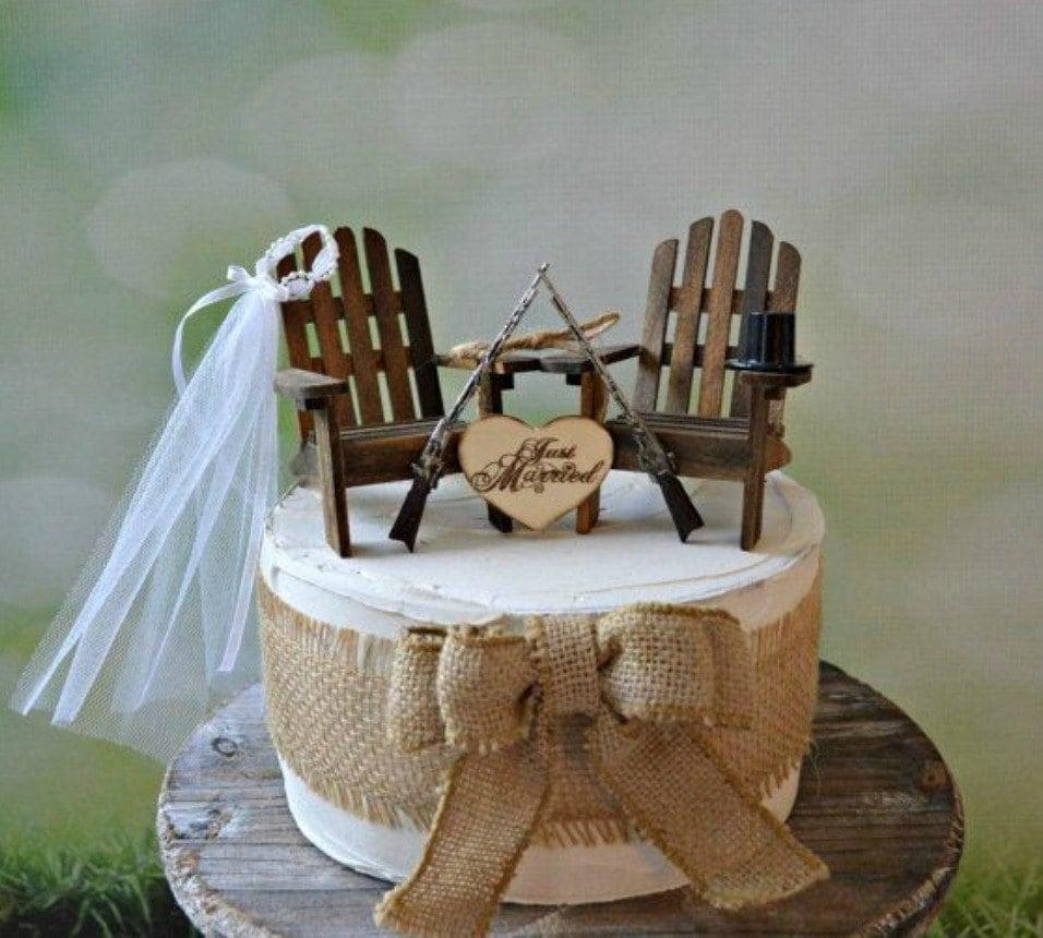 Gun Wedding Chairs Lake Camping Hunting Themed Wedding Cake