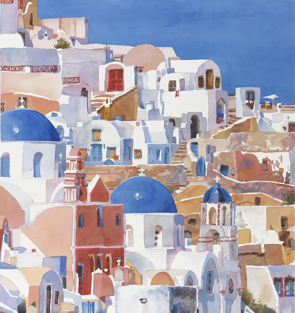 Santorini Greece Print Of Original Watercolor Painting Greek