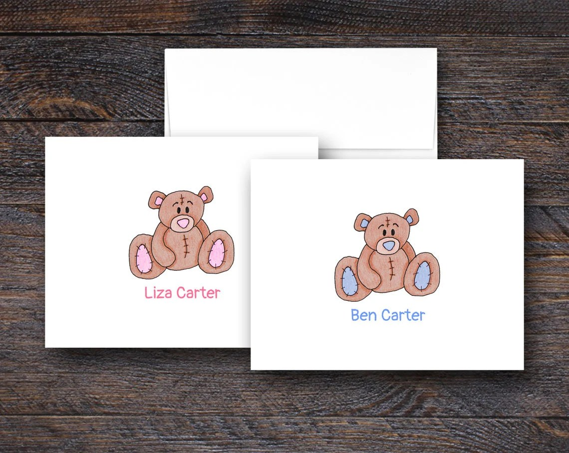 Teddy Bear Note Cards - P...