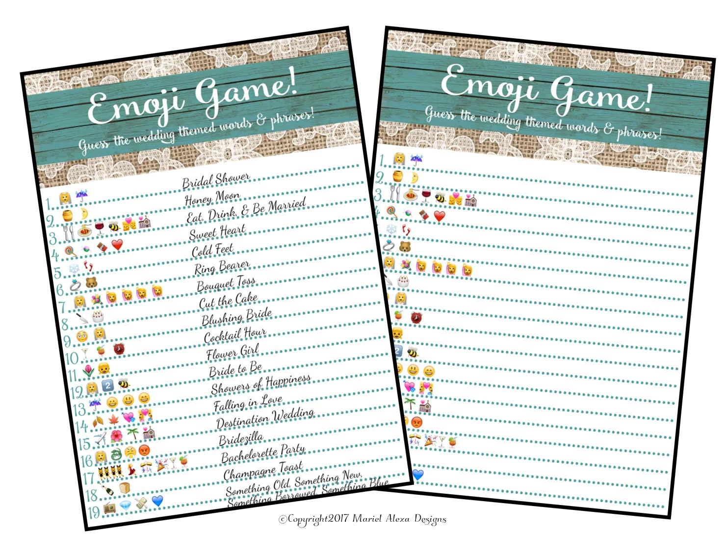 Printable Baby Shower Emoji Pictionary Answer Key And