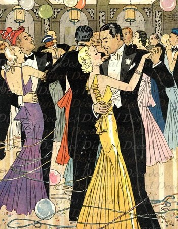 Party Dancing Couple Balloons Streamers Gatsby Era Digital