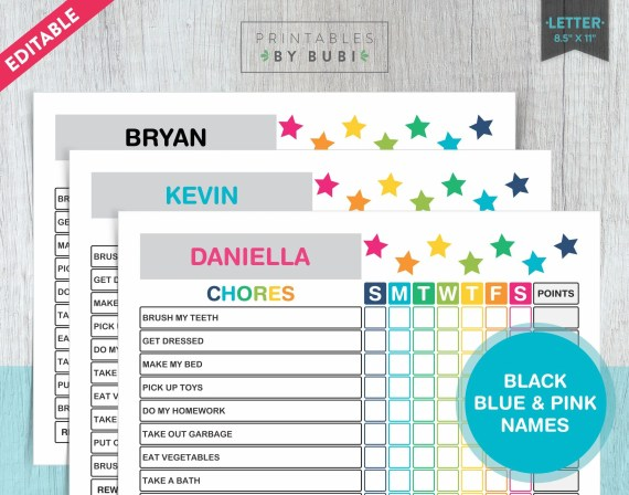 Set of 3 Printable & Editable Chore Charts