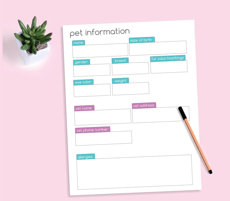 Pet Information Form Printable Worksheet