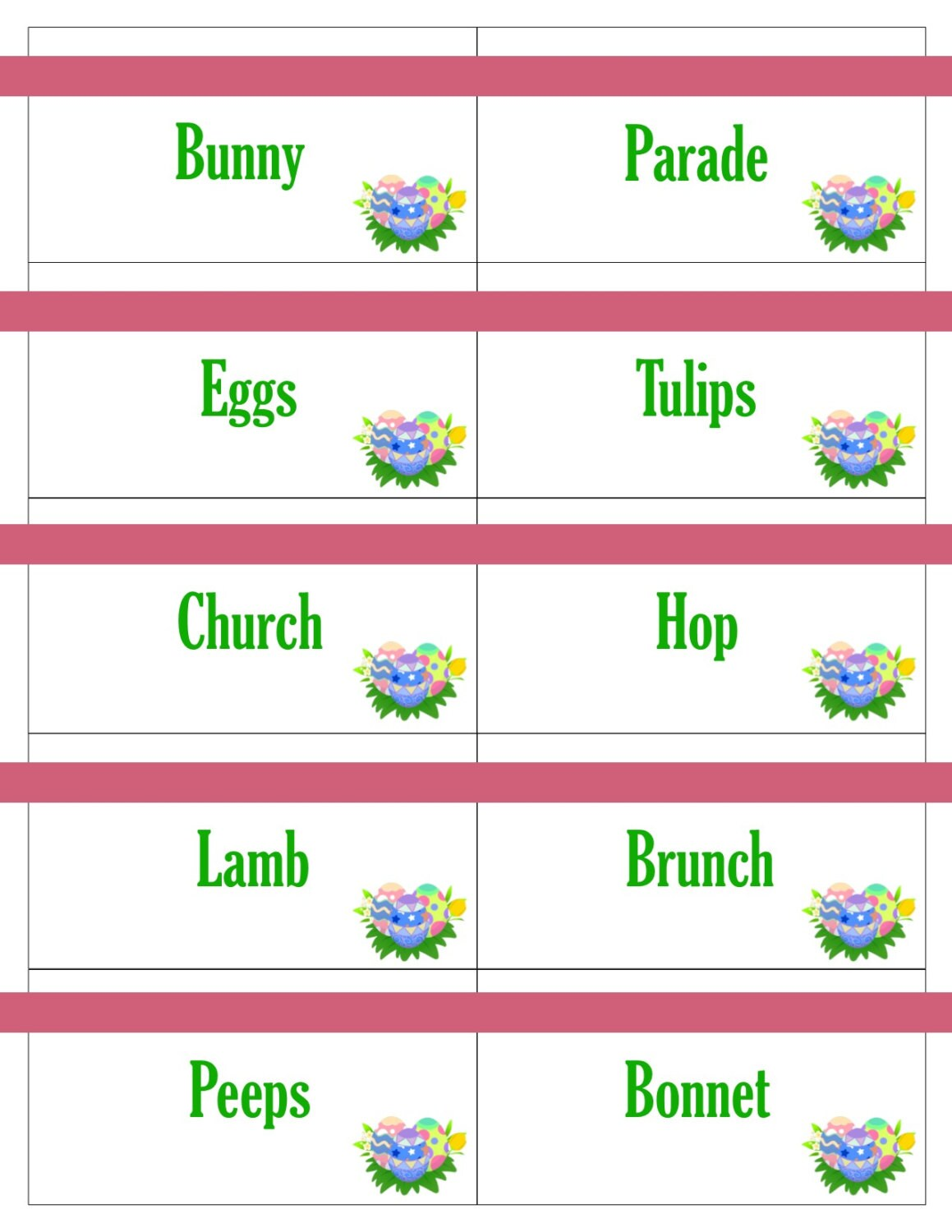 Printable Easter Game Cards For Pictionary Charades Hangman