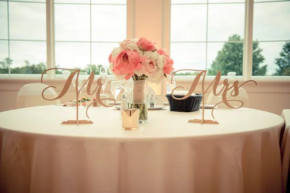 Mr. & Mrs. Sign Sweet Heart Table Sign Wedding Table Sign