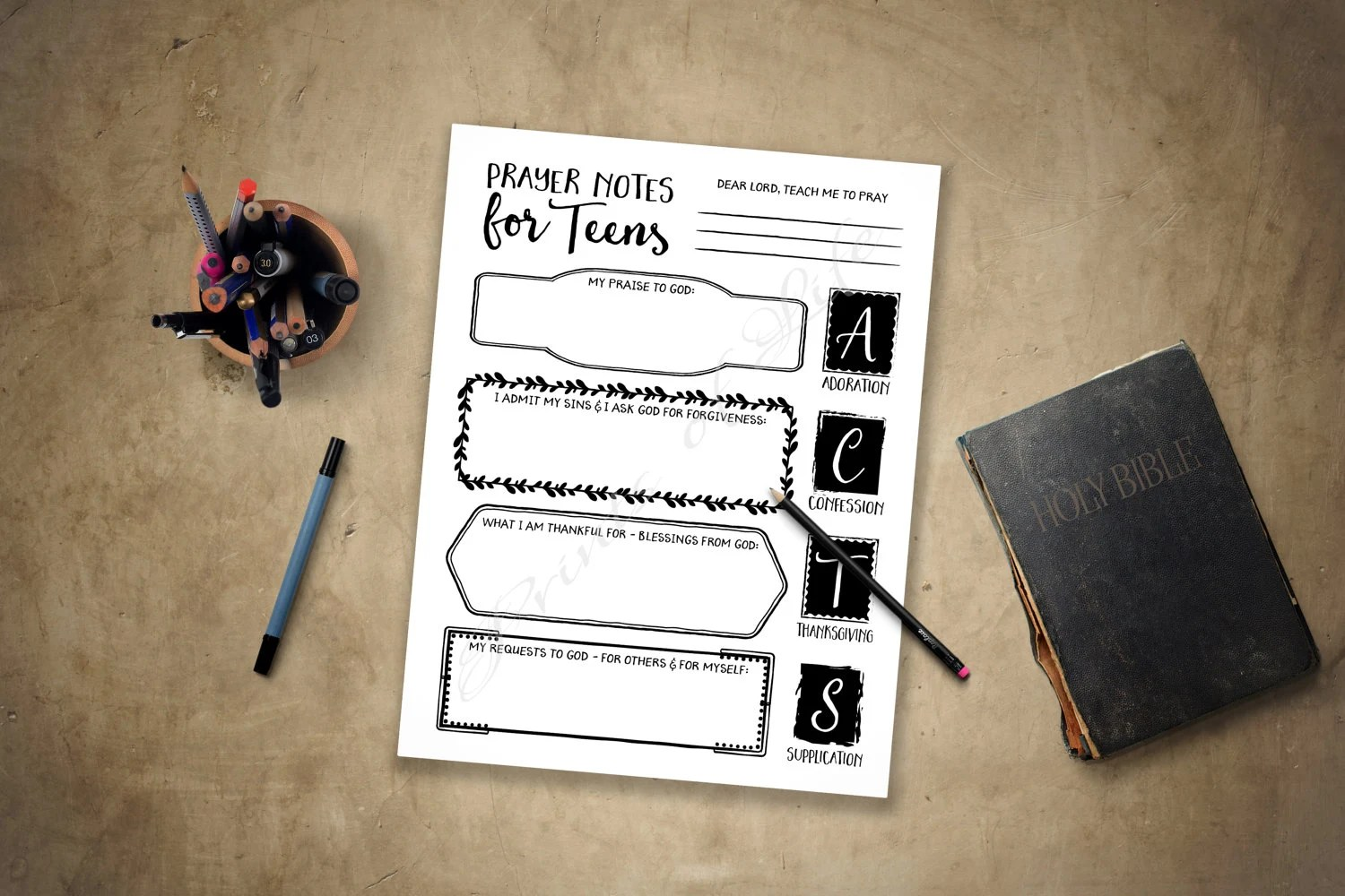 Prayer Notes For Teens Printable Instant Download Acts